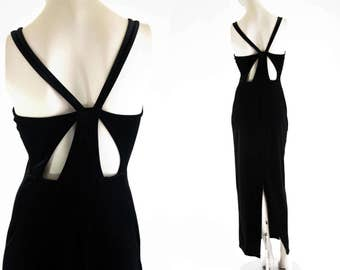 764ab7781fc Vintage 90 s Roberta Brand Poly Spandex Black Velour Criss Cross Back Woman s  Retro Back Slit Maxi Dress