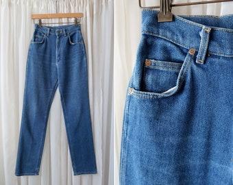 "26"" x 31"": 90's LEE Denim Medium Wash Woman's 12"" Super High Waist Tapered Leg Vintage MOM Jean"
