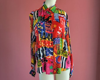 90's Brand MSAS Fashion Abstract Print Sheer Long Sleeve Colorful Button Up Flowy Blouse