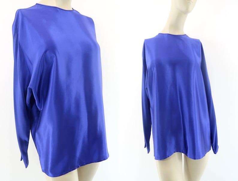 Silk Blouse  Vintage  90's  Retro Shirt  Long Sleeve image 0