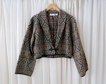 90's Flashback Brand Aztec Inspired Southwestern Print Crop Batwing Woman's Size M Jacket