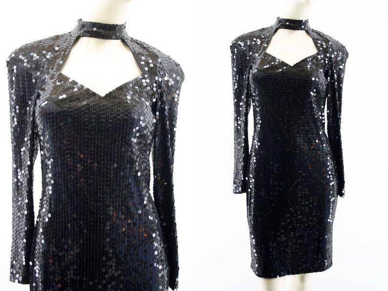 NITE LINE Black Sequin Dress  Vintage  Cut Out  LBD image 0