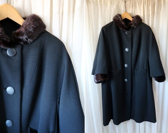 Vintage Mad Men Jacket by Fishgall's Sioux City Iowa / Black 60's Heavy Woman's Coat with Real Dark Brown Fur Accents