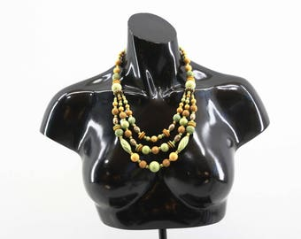 Vintage Layered Pastel Green Brown and Peach Tones Necklace