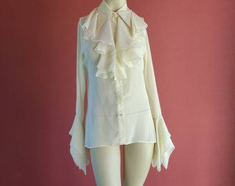 Vintage Ruffle Neck Sheer Long Sleeve Button Up Blouse with Pointy Collar and Extra Long Ruffle Sleeves by the Brand Jeffrey Halper
