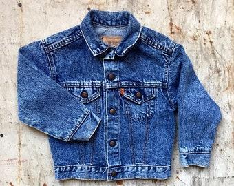 Vintage LEVI Kids Stonewash Unisex Classic Denim Jean Jacket