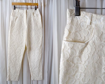 """29""""x29"""": 90's Stephanie Queller Beige Lace Lined High Waist Tapered Fancy Pants"""