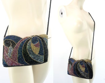 Vintage Beaded Purse   Formal   Prom   Black Tie   Night Out   Retro   Fancy Bag