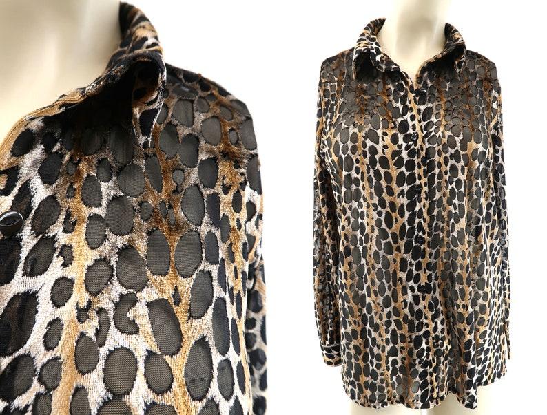 Cheetah Print  90's  SAG HARBOR Burnout  Animal Print  image 0