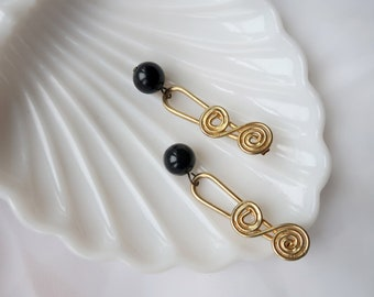 90's Dangly Gold and Black Drop Vintage Funky Cool Pierced Earrings
