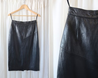 """28"""": The Leather Warehouse Vintage Black Leather Ladies' Retro Woman's Knee Length Pencil High Rise Skirt"""