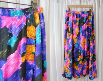 Vintage Leslie Fay Personal Brand Full Length Bright Color Floral Print Ruffle Wrap Side Button Woman's Retro Skirt