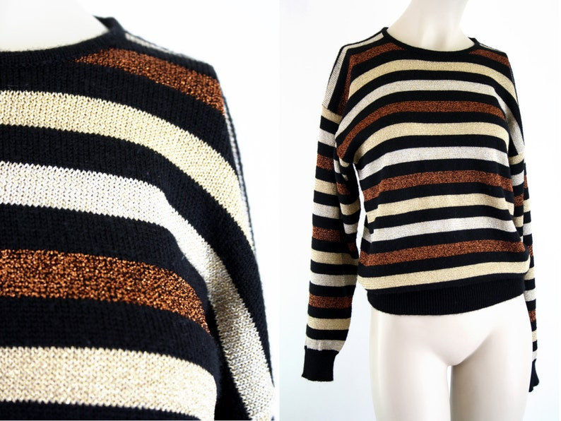 Vintage Sweater  90's  Metallic  Stripe Long Sleeve image 0