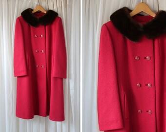 Vintage Mod Fur Collar Fuchsia Pink Heavy Woman's Wool Jacket /Coat