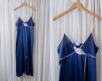 Lorraine Vintage Made in USA Blue and Pink Floral Applique Woman's Retro Long Lingerie Spaghetti Strap Dress