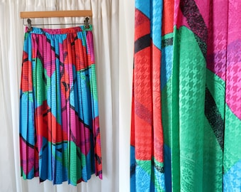 Vintage 80's Personal Brand Funky Bright Color Abstract Print Elastic Waist Pleated Retro Woman's Midi Skirt