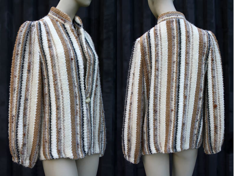 Gold by donnkenny Rayon Mohair Polyester Lambs Wool Lightweight Shades of Creme and Tan Woman/'s Button Front Cardigan Sweater D.K