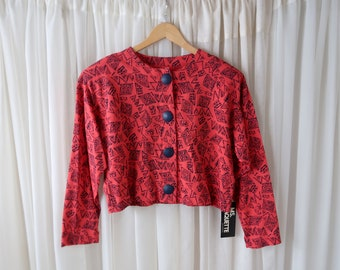 Miss Paquette 80's Vintage Oversize Long Sleeve Pink and Black Abstract Print Crop Tee / T-shirt