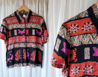 90's Vintage Caribou Brand Bright Colors Orange Pink and Black Abstract Animal Print Button Down Short Sleeve Woman's Retro Blouse Top