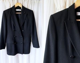 90's 100% WOOL Black Double Breasted Blazer by Valerie Stevens