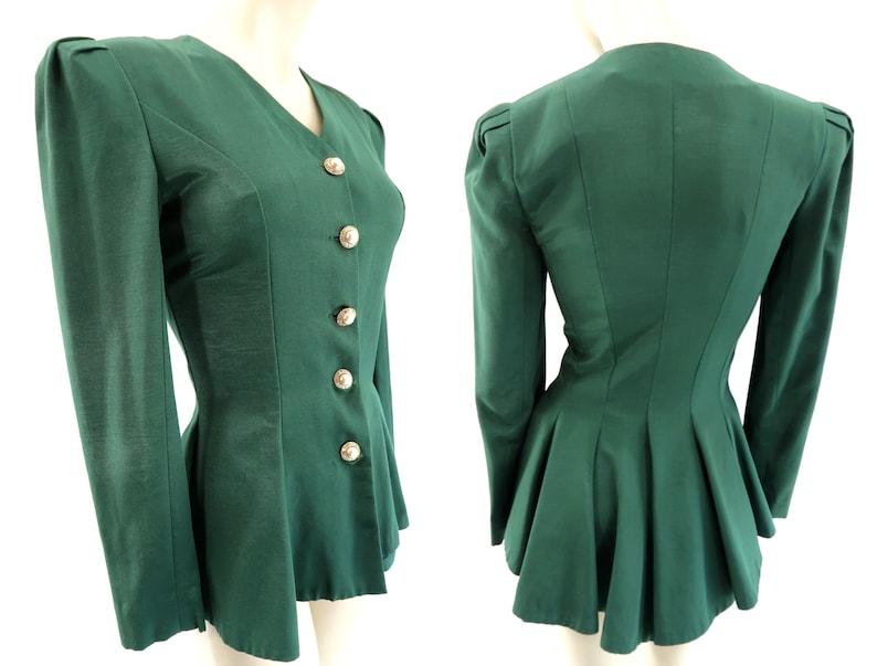 Retro Blazer  Vintage  Hunter Green  High Low  Jacket Top image 0
