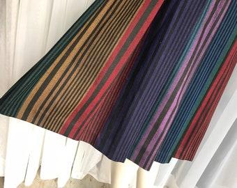 Liz Claiborne 100% Wool Fall Colors Stripe Skirt