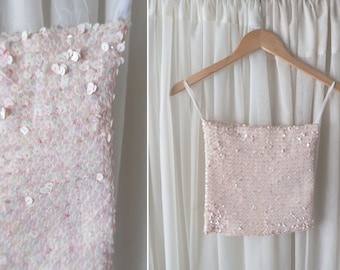 Algo Formal Wear / Prom / NYE Vintage Light Pink Sequin Tube Top