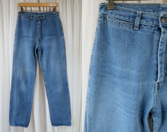 "29"" x 33"": Vintage 1970's Medium Wash Super High Rise Wide Leg Denim Jeans"