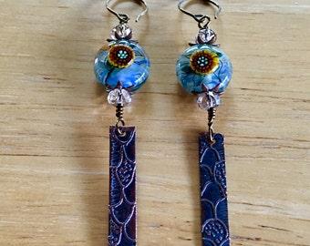 Lampwork Glass and Copper Sticks Dangle & Drop Earrings