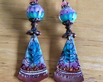 Lampwork Petal Beads and Copper Enamel Dangle & Drop Earrings