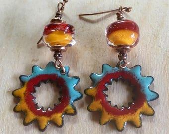 Boro & Copper Enamel Dangle Earrings