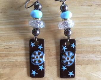Lampwork and Copper Enamel Dangle & Drop Earrings