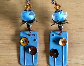 Lampwork Beads and Alison's Copper Enamel Dangle & Drop Earrings
