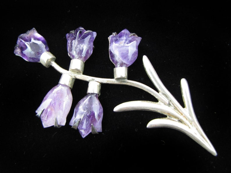 Beautiful Mexican Sterling Silver Amethyst Flower Brooch image 0