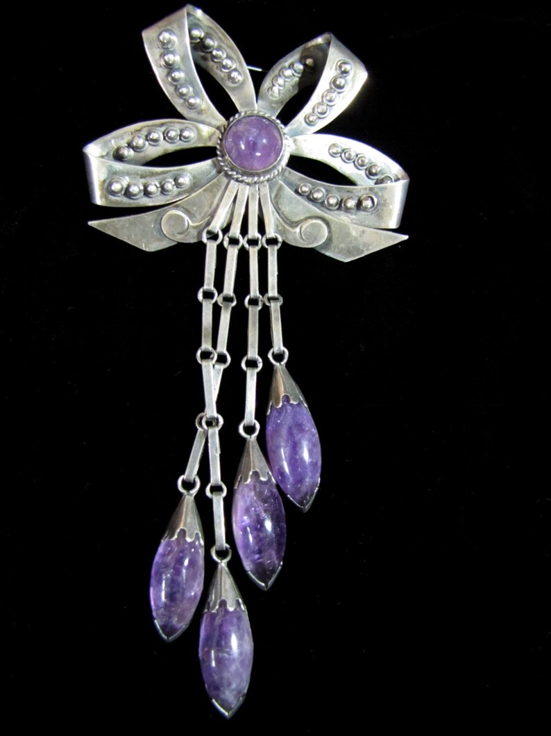Beautiful Vintage Mexican Bow Brooch Amethyst image 0