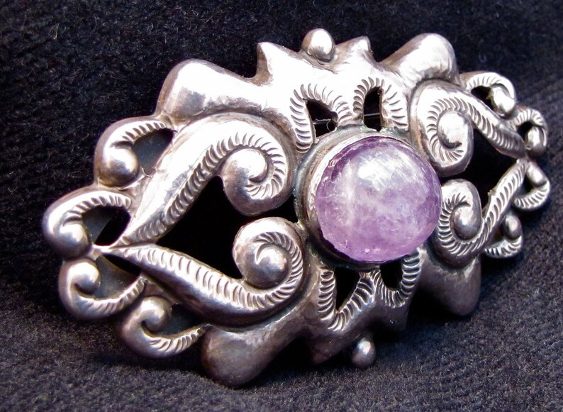 Vintage Mexican Sterling and Amethyst Brooch image 0