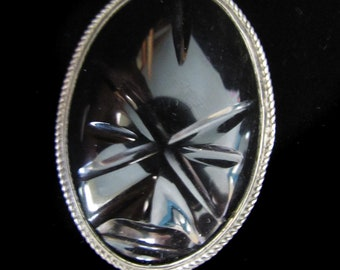 Vintage Mexican Silver Carved Black Onyx Brooch