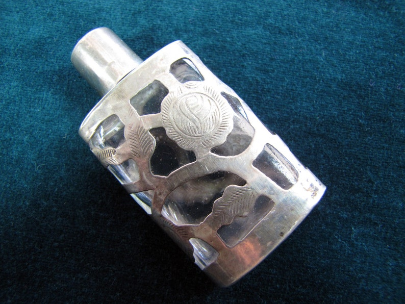 Small Vintage Mexican Bottle with Sterling Silver Overlay image 0