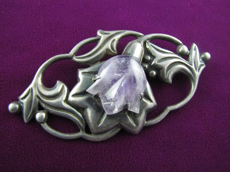 Vintage Mexican Silver Amethyst Flower Brooch  Very Large image 0