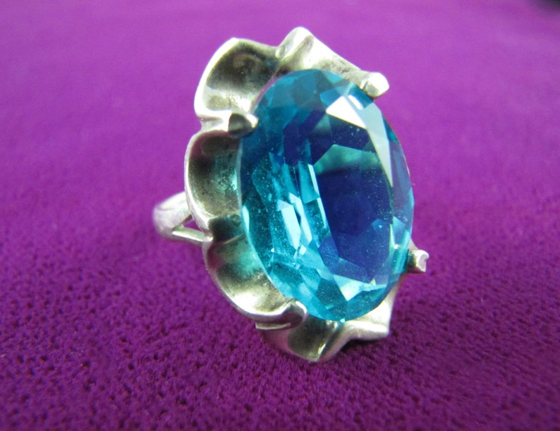 Vintage Mexican Silver Topaz-Blue Jewel Ring image 0