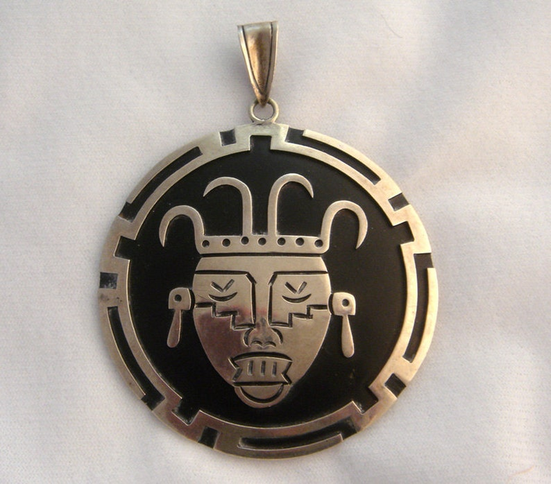 Vintage Taxco Mexico Sterling Silver Face Pendant image 0