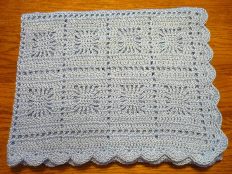 Crochet Baby Blanket Toddler Size Blanket Blue Snowflake | Etsy