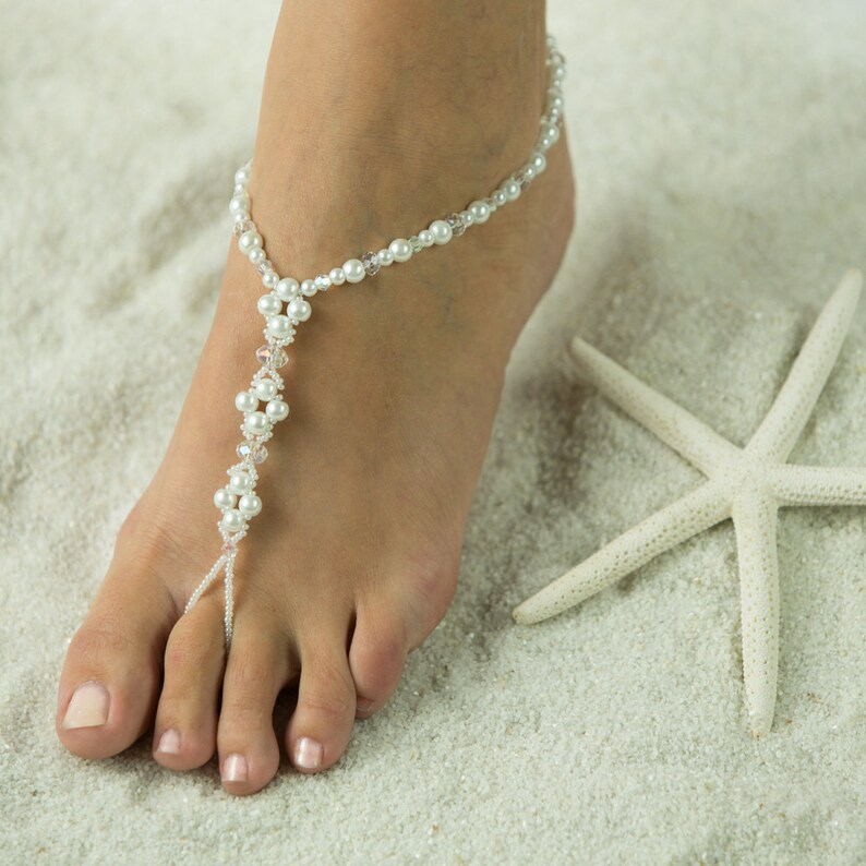 Crystals n Pearl Barefoot Sandals Foot Jewelry Beach  ffa9c7338e59
