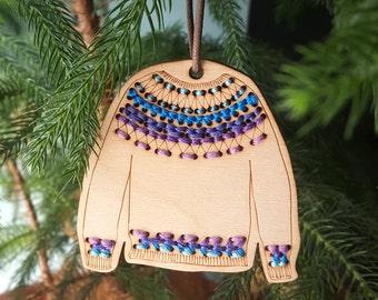 Sweater Ornament  Stitchable Wood Cardigan or Yoke DIY