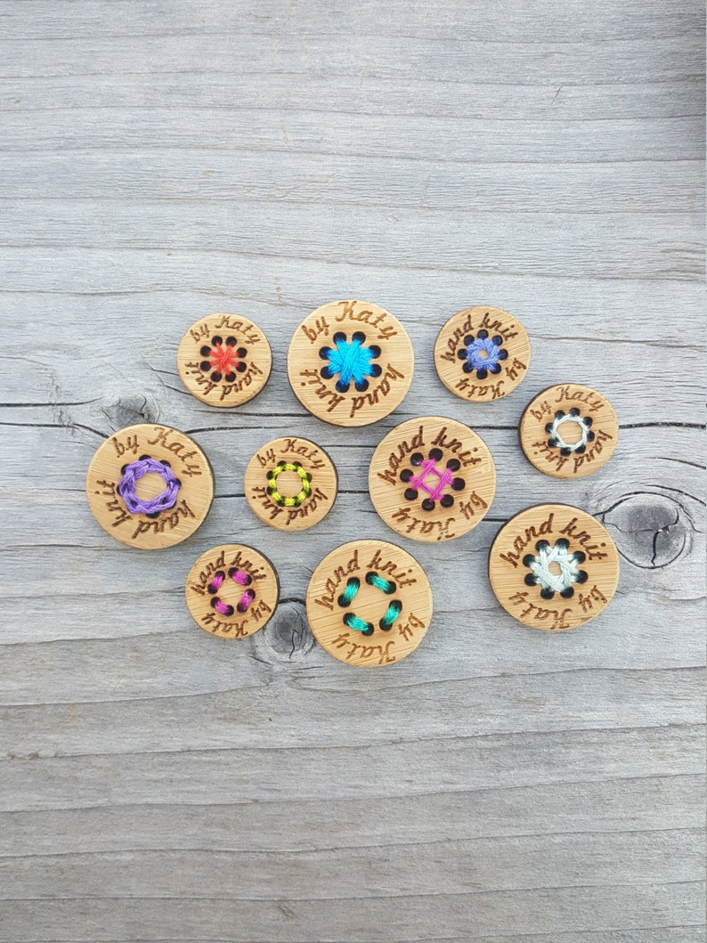 Set of 10-8 Hole Buttons Bamboo Wood Button Custom Stitchable Buttons