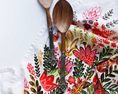 """Multicolor Flower Tea Towel 100% cotton, 20""""x30"""", comes in a gift packaging with a complimentary recipe card"""