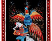 Wolf Stealing Rooster Art Print
