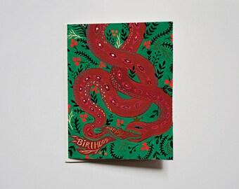 Tarjeta de felicitación - feliz cumpleaños - serpiente roja