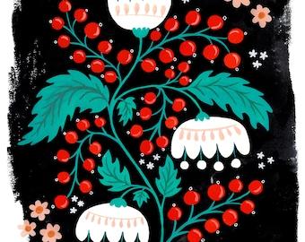 Giclee Print, Berries And White Flowers Art Print 24x18