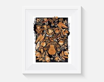Giclee Print, Golden Garden Birds Art Print